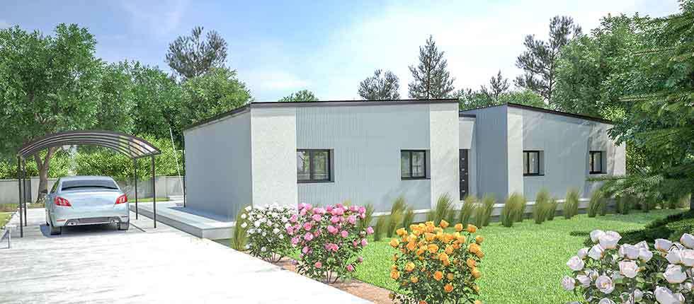 Plan 3D, modélisation et descriptif du kit de maison Teck à partir de 28 866€