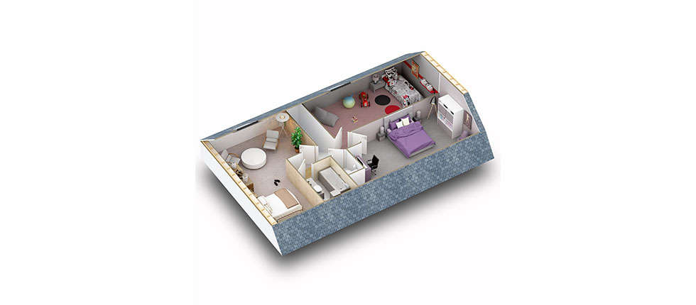 Plan 3d mod lisation et descriptif du kit de maison h v a for Plan de comble amenageable