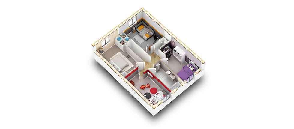 plan interieur 3d etage kit lati pobi