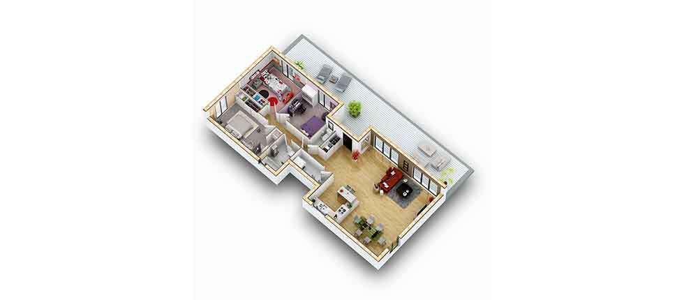 plan interieur 3d maison teck pobi