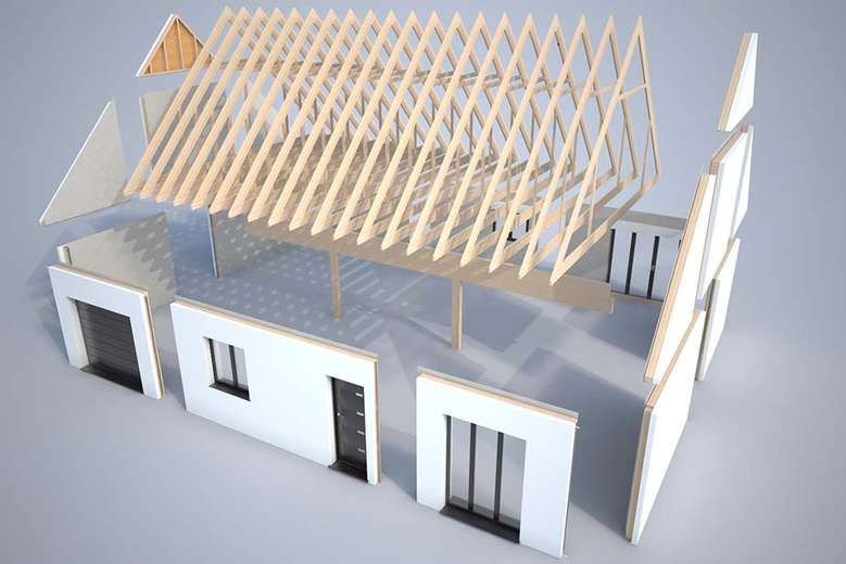 Plan 3d mod lisation et descriptif du kit de maison h v a for Modelisation maison 3d