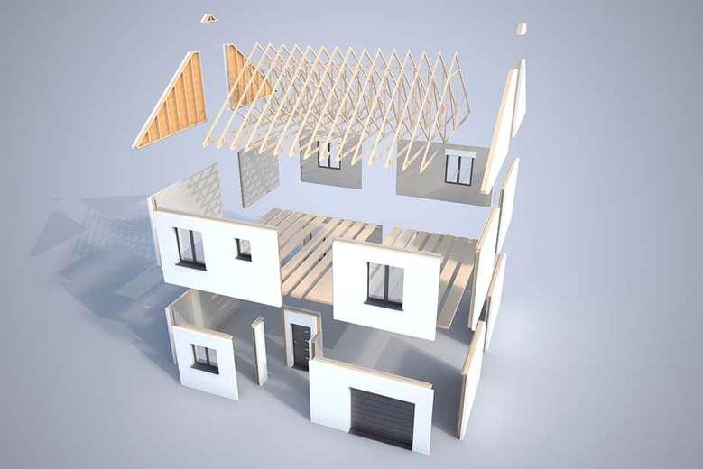 Plan 3d mod lisation et descriptif du kit de maison kasa for Modelisation maison 3d