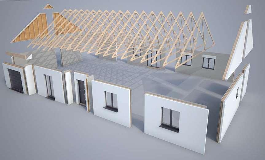 Plan 3d mod lisation et descriptif du kit de maison lauan for Modelisation maison 3d