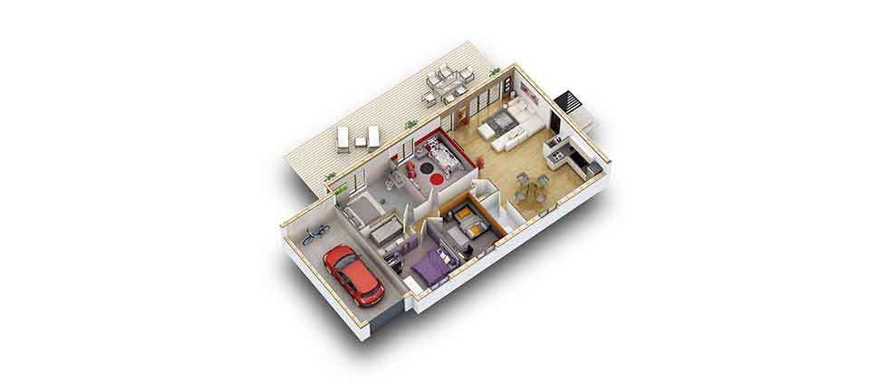 plan interieur 3d maison tiama pobi